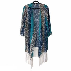 ING blue floral half sleeve open front cardigan 1X